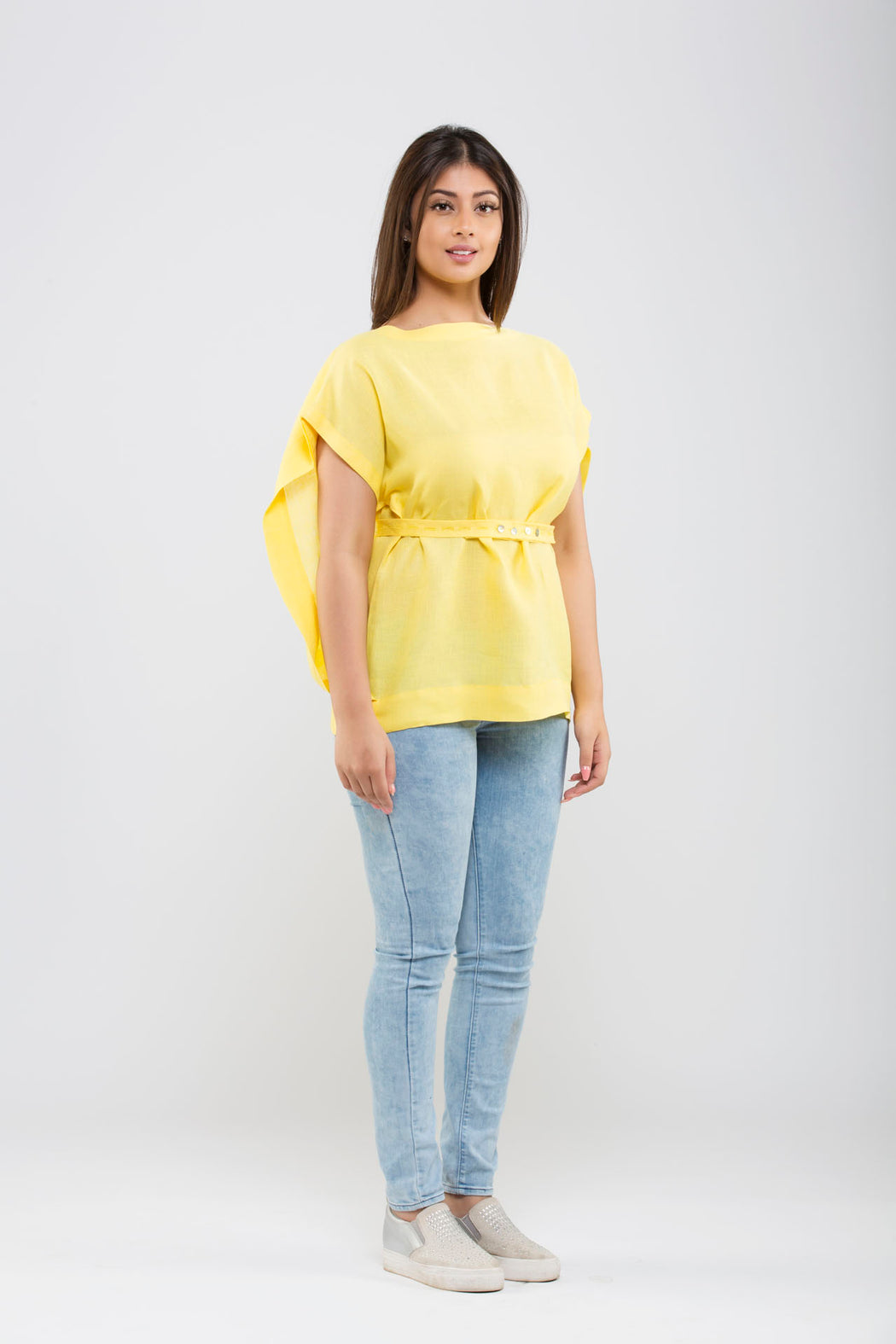 Linen Kimono Top With Belt <br> (Primrose Yellow)