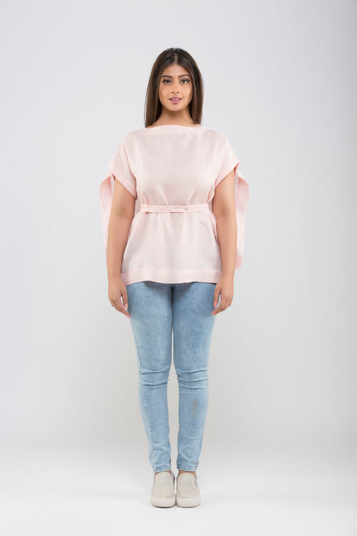 Linen Kimono Top With Belt <br> (Millennium Pink Rose Quartz)