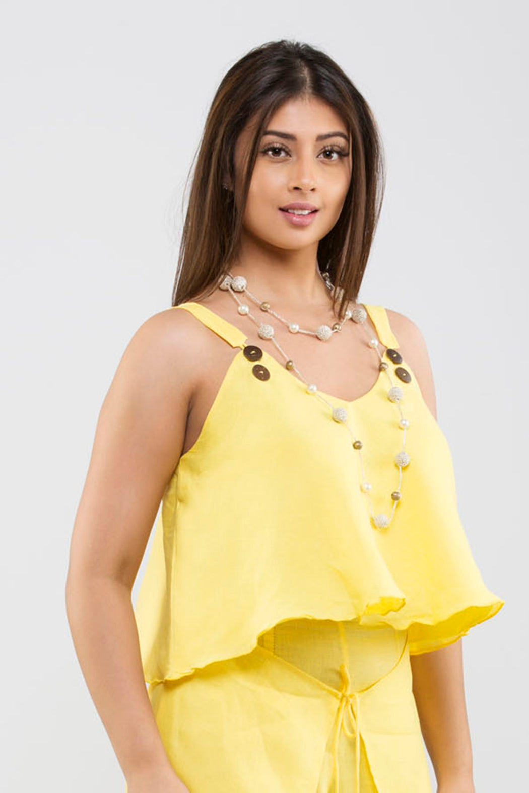 Linen Crop Top<br>(Primrose Yellow)