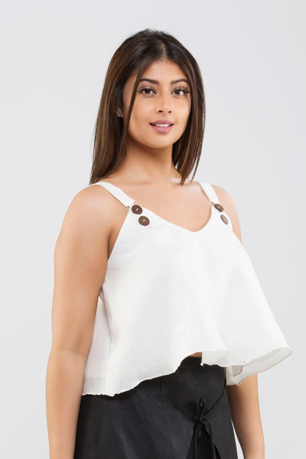 Linen Crop Top<br>(Cloud Dancer - Off White)