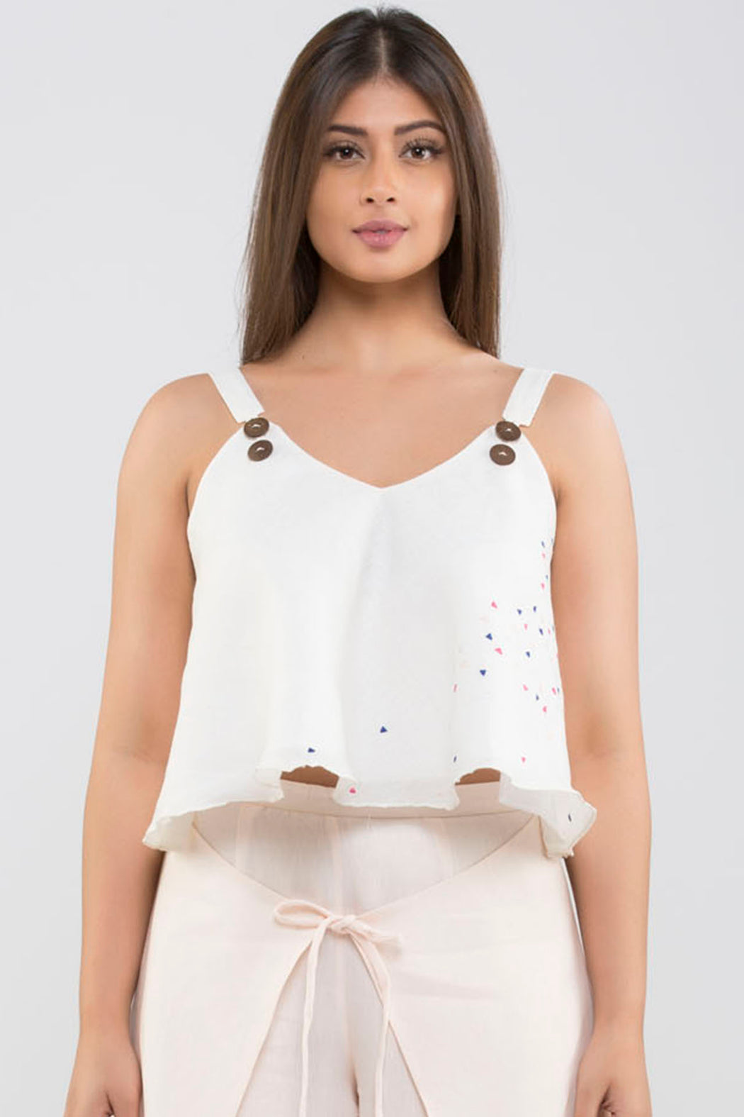 636eef8f15e52a Linen Crop Top with Embroidery br (Cloud Dancer - Off - White) ...