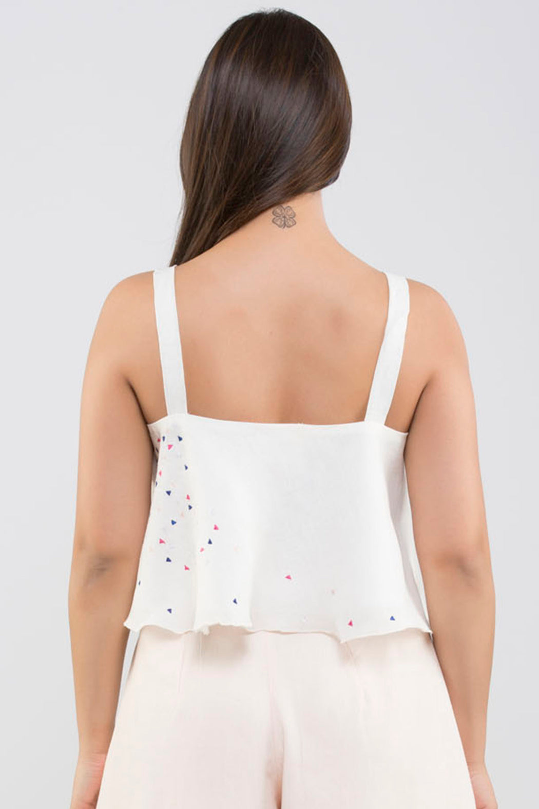 Linen Crop Top with Embroidery<br>(Cloud Dancer - Off - White)