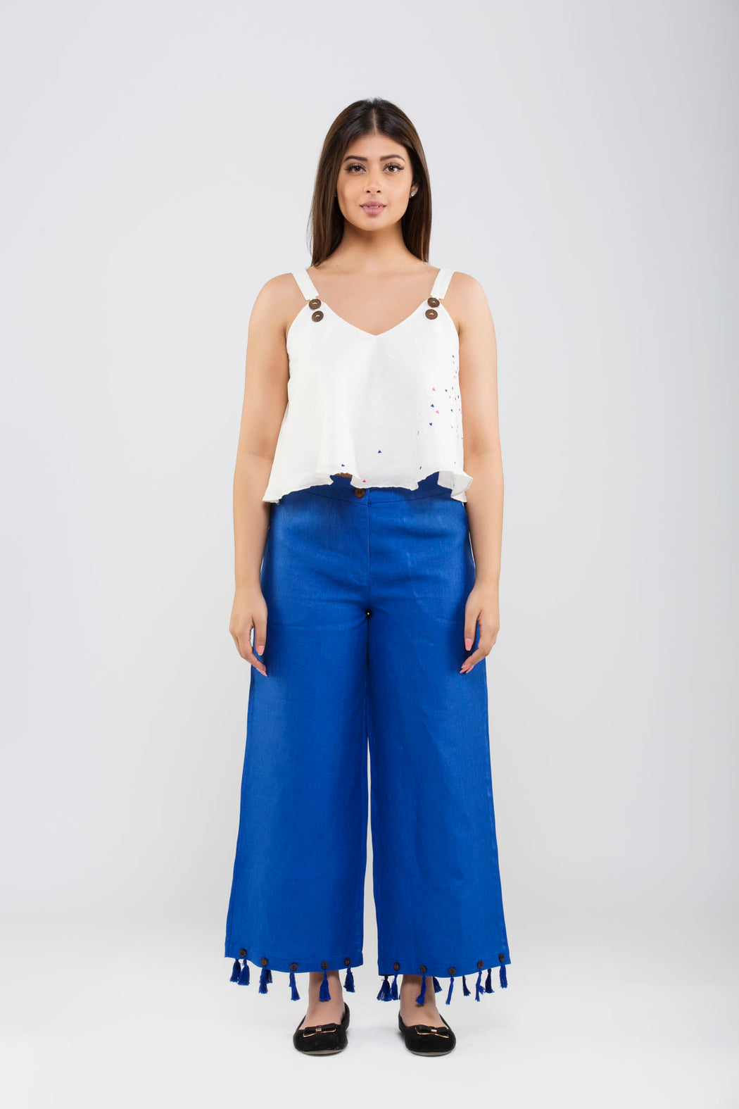 Linen Crop Pants with Tassels<br>(Lapis Blue)