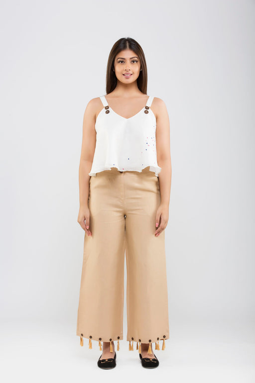 Linen Crop Pants with Tassels<br>(Hazelnut)