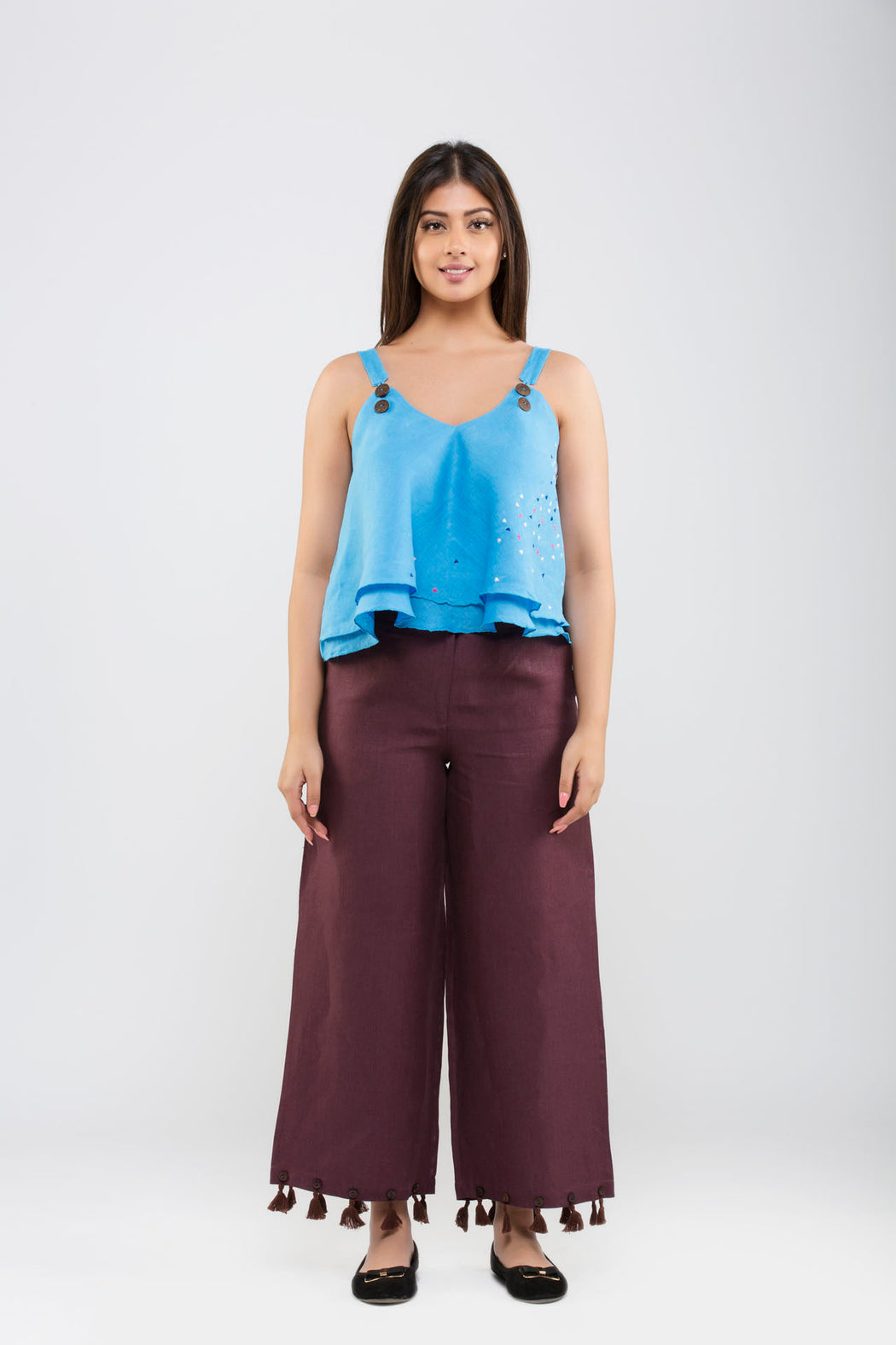 Linen Crop Pants with Tassels<br>(Fig)