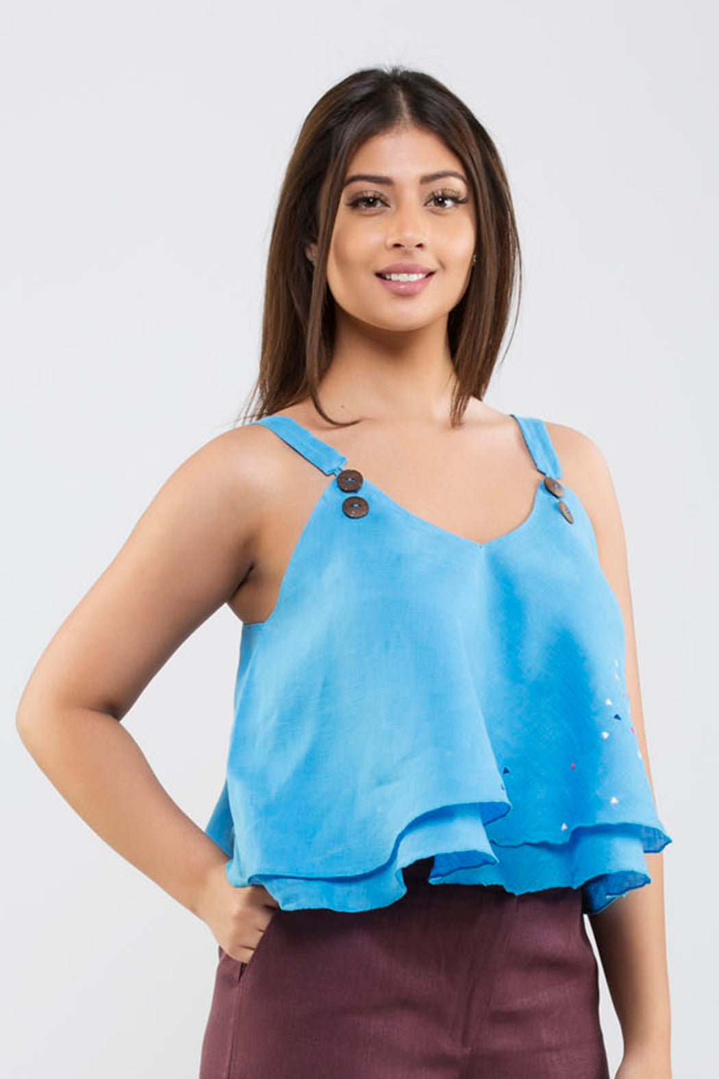 Linen Crop Top with Embroidery<br>(Marina Blue)