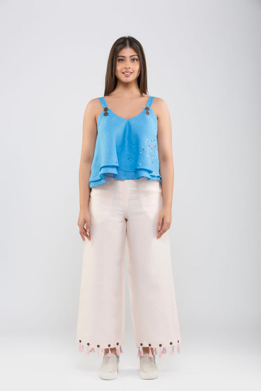Linen Crop Pants with Tassels<br>(Pale Dogwood Peach)