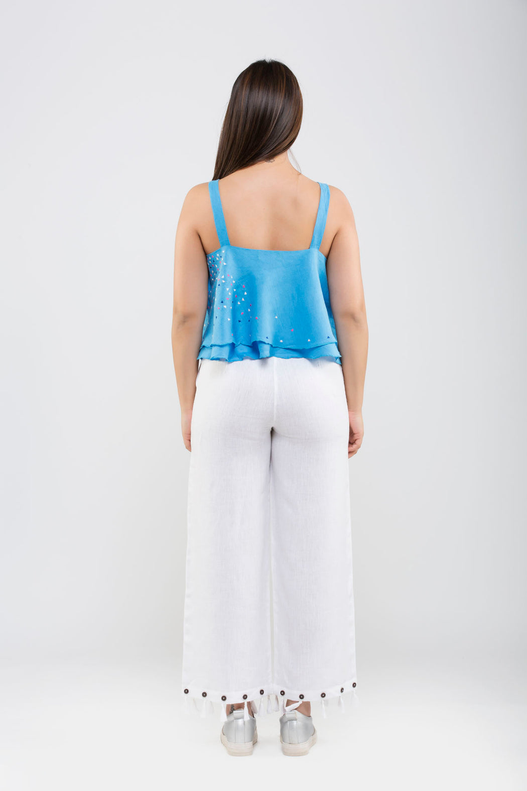 Linen Crop Pants with Tassels<br>(White)