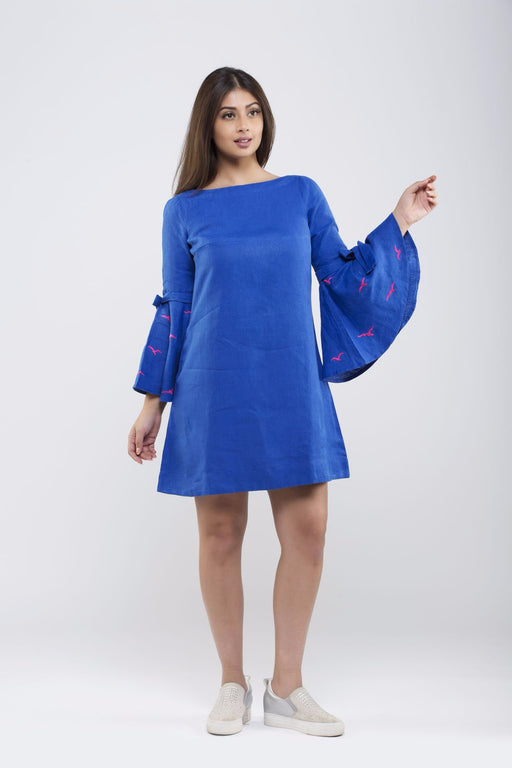 Linen Bow Tied Dress<br>(Lapis Blue)