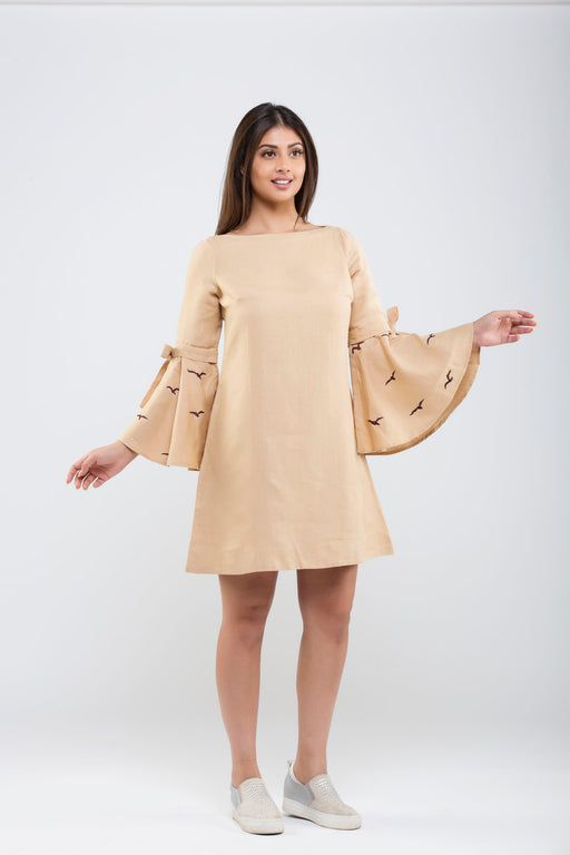 Linen Bow Tied Dress<br>(Hazelnut)