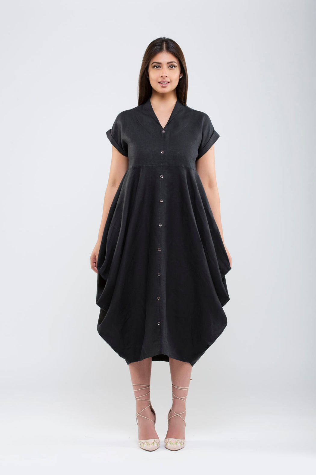 Linen Side Cowl Dress <br> (Black)
