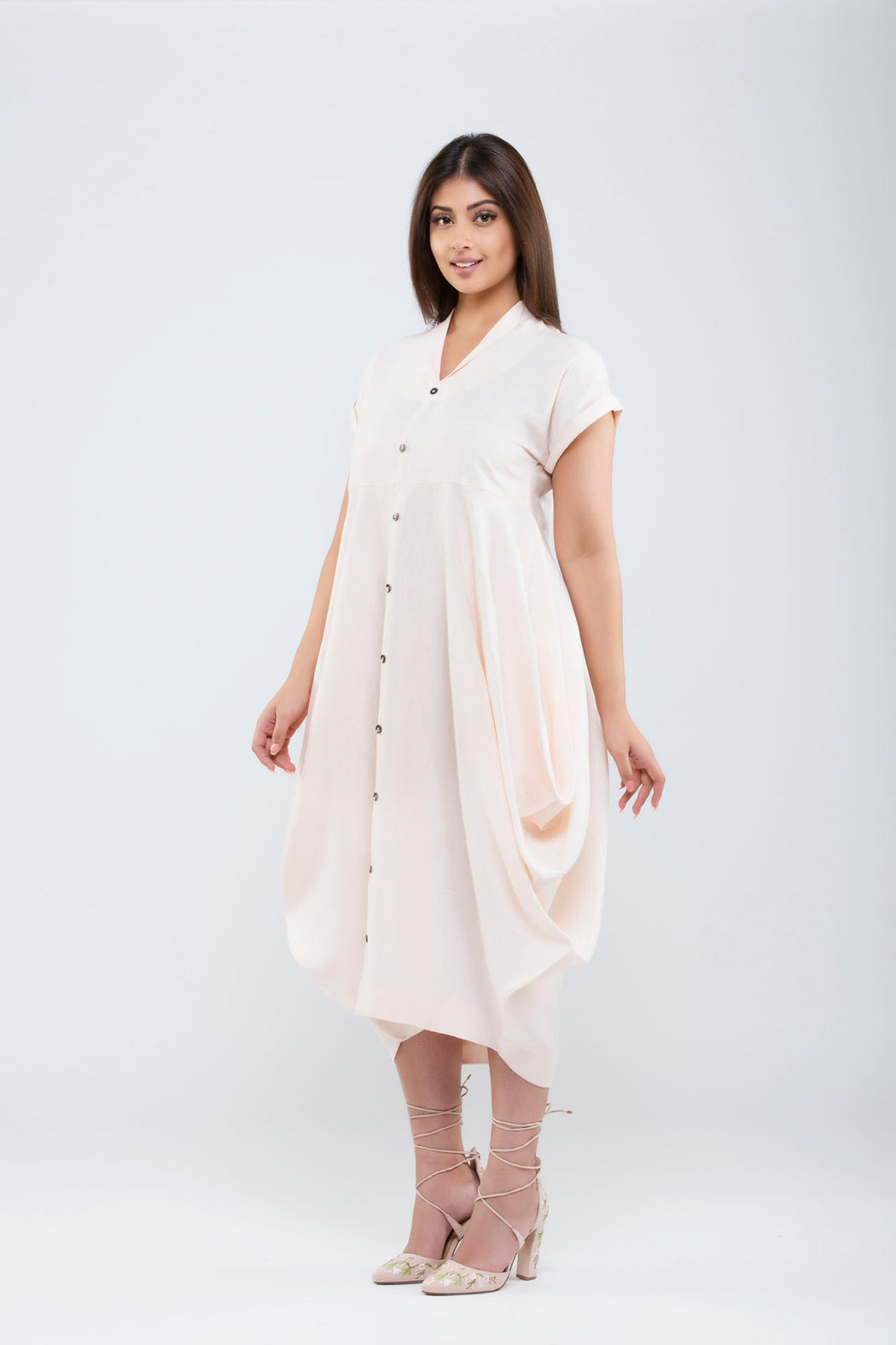 Linen Side Cowl Dress <br> (Pale Dogwood Peach)
