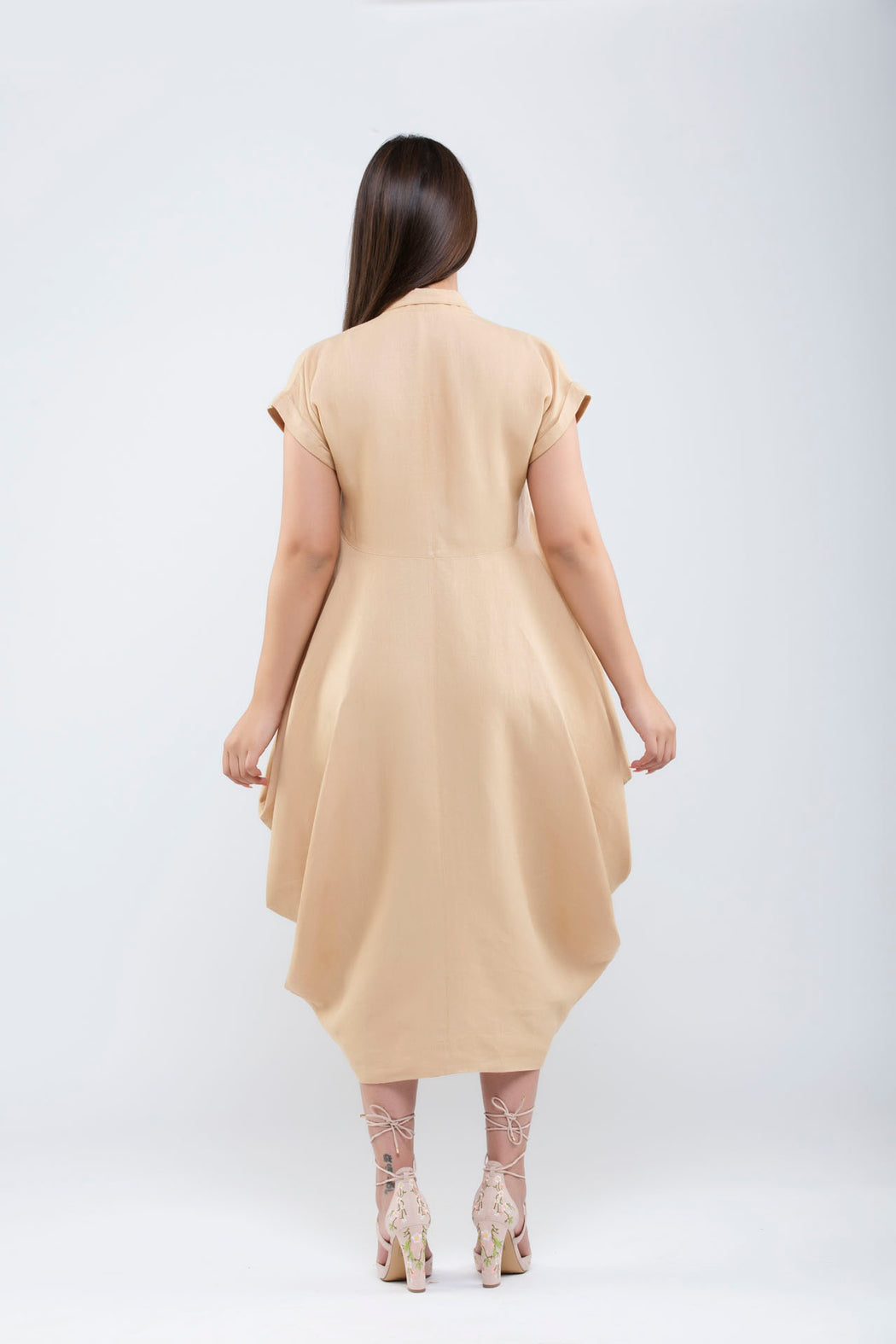Linen Side Cowl Dress <br> (Hazelnut)