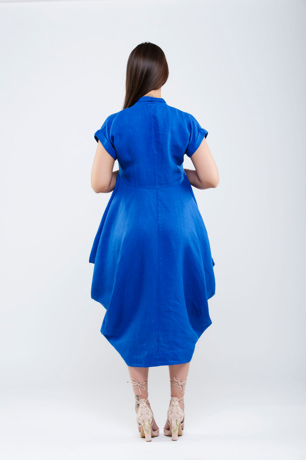 Linen Side Cowl Dress <br> (Lapis Blue)