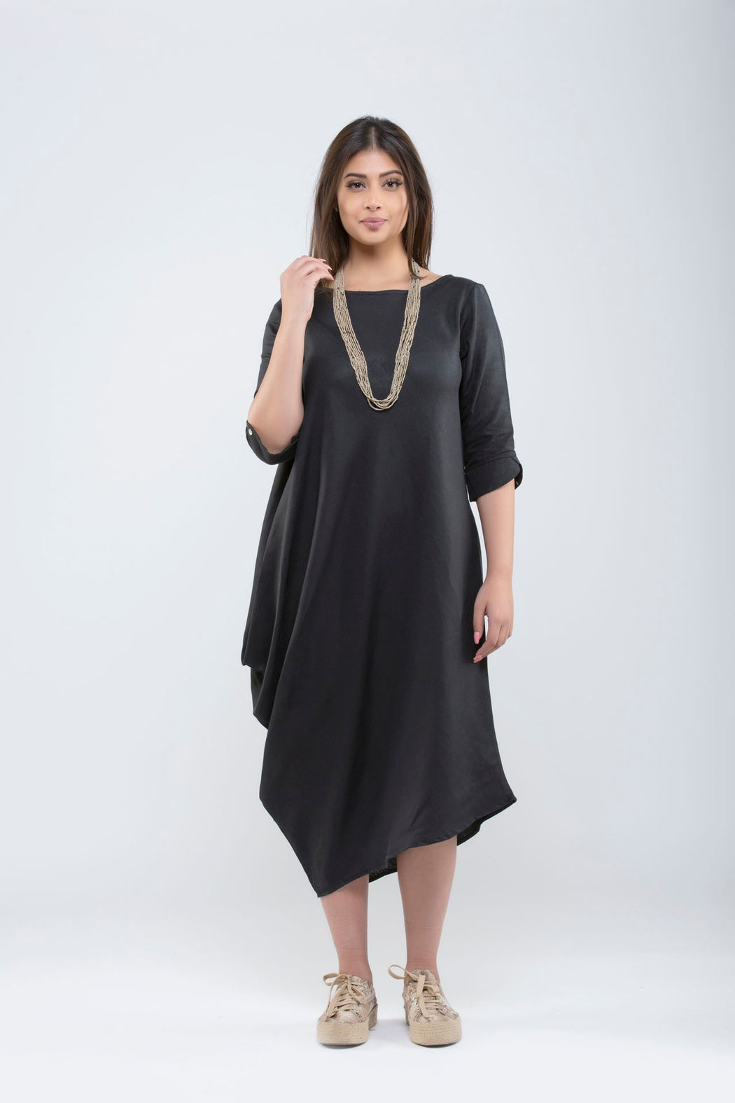 One Side Cowl Dress <br> (Black)