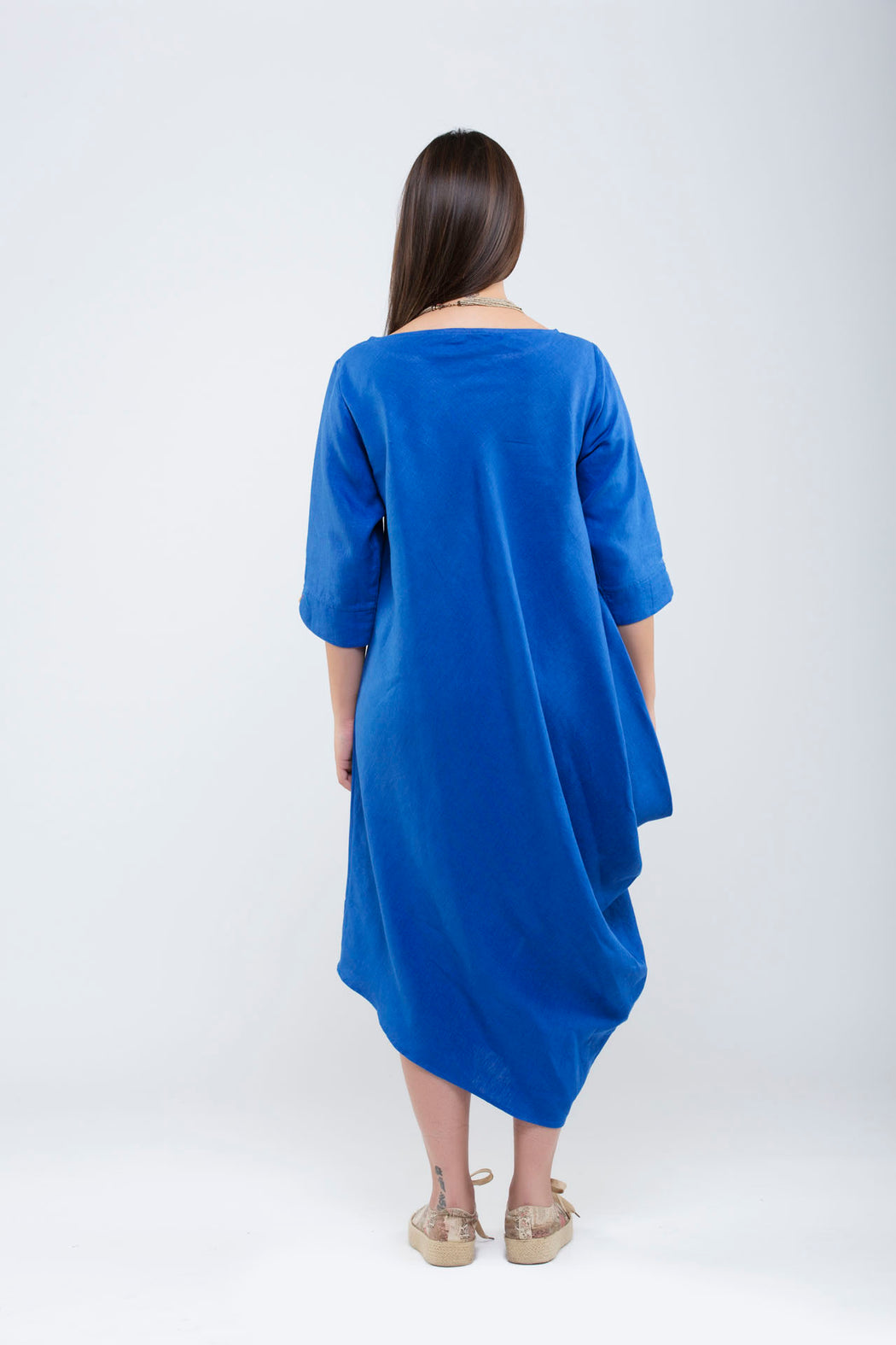 One Side Cowl Dress <br> (Lapis Blue)