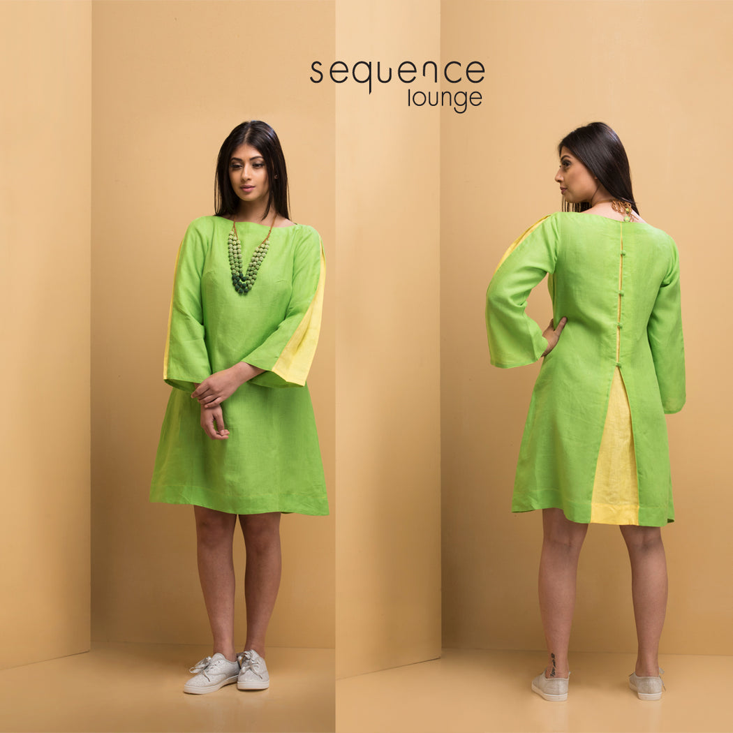 Linen Pleated Shift Dress <br>(Greenery with Primrose Yellow)