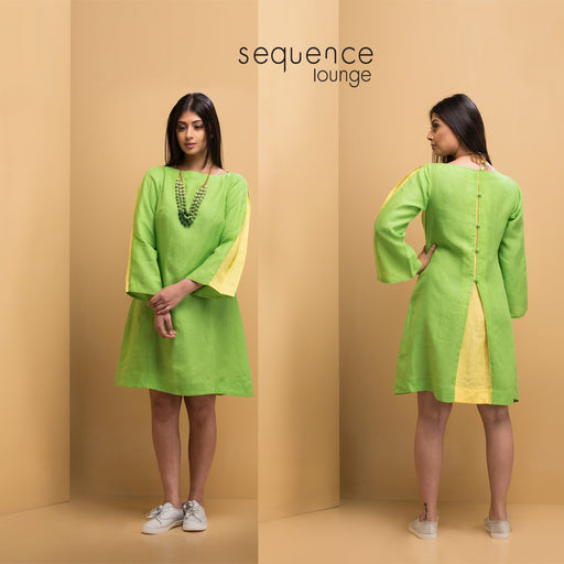 a3d21cadf5a Linen Pleated Shift Dress  br (Greenery with Primrose ...