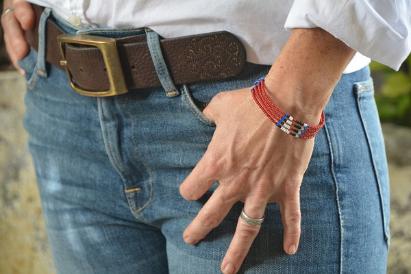 Red, white, and black Masai bracelet