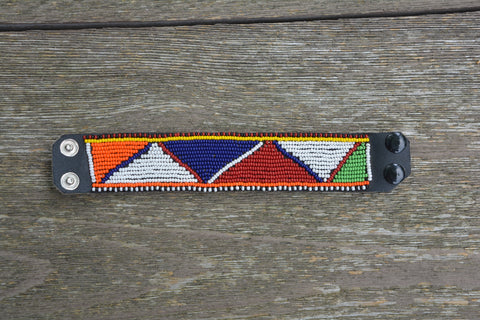 Multi-colored leather Masai bracelet