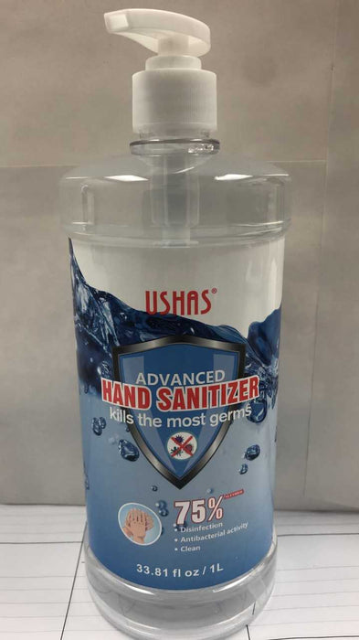 Hand Sanitizer w/pump 75%   1 Liter/33.81 fl oz