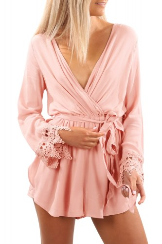 Pink Lace Romper