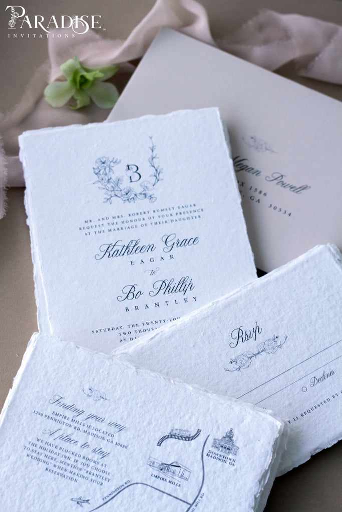 Kathleen HANDMADE PAPER WEDDING INVITATION, DECKLED EDGES PAPER