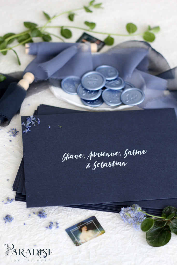 Navy Envelopes and White Ink Printing