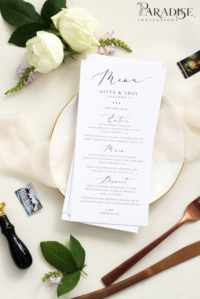 Odile Calligraphy Wedding Menus
