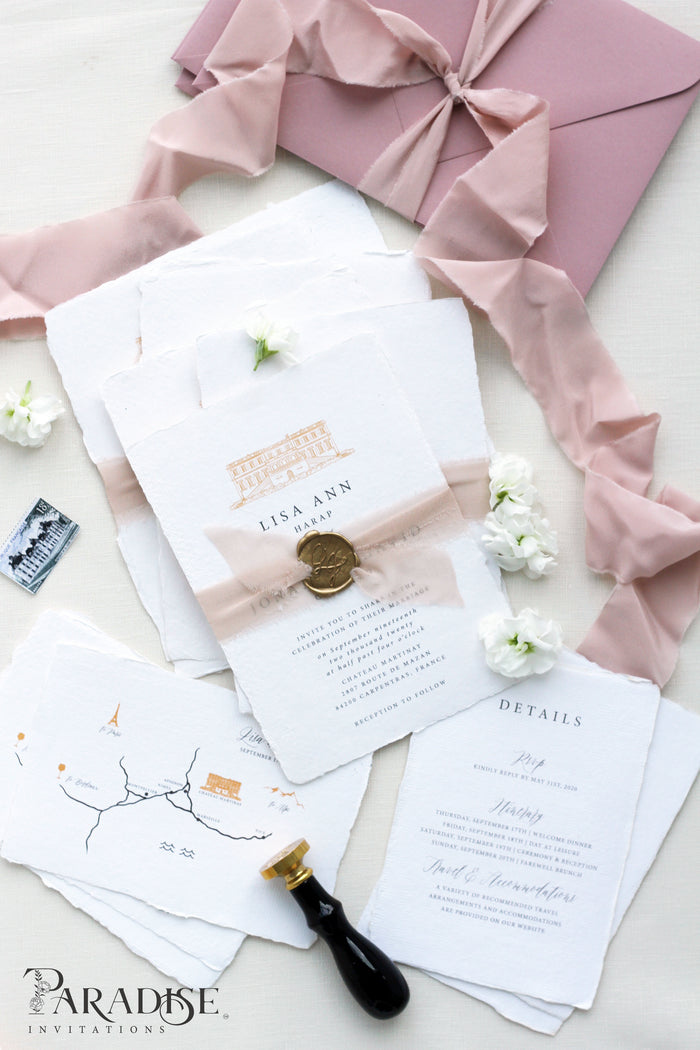 Bernardine Handmade Paper Wedding Invitation Sets