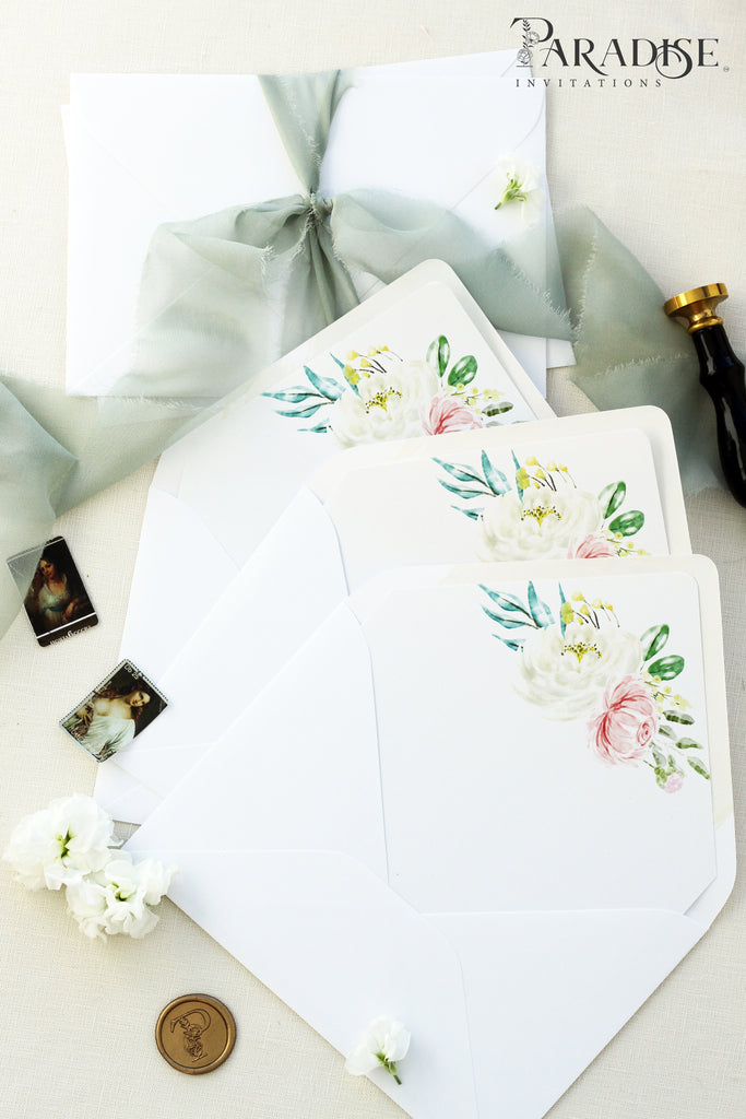 White Floral Envelope Liners