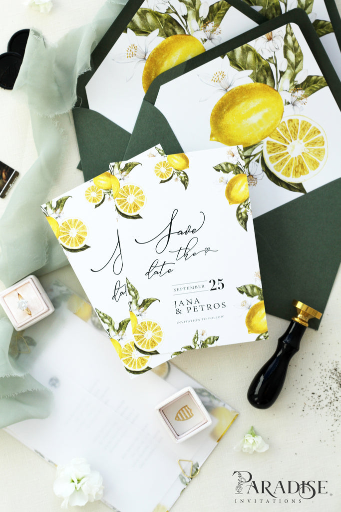 Louisa Watercolor Lemons Save the Date Cards