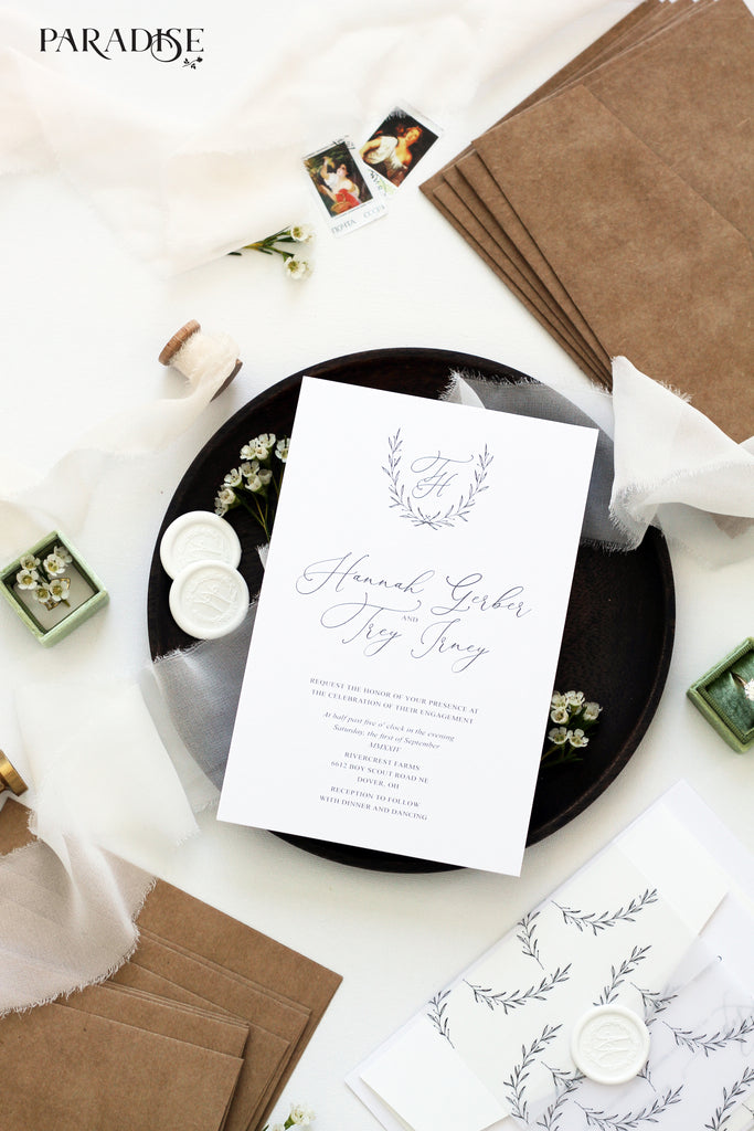 Gersende Elegant Wreath Engagement Invitation