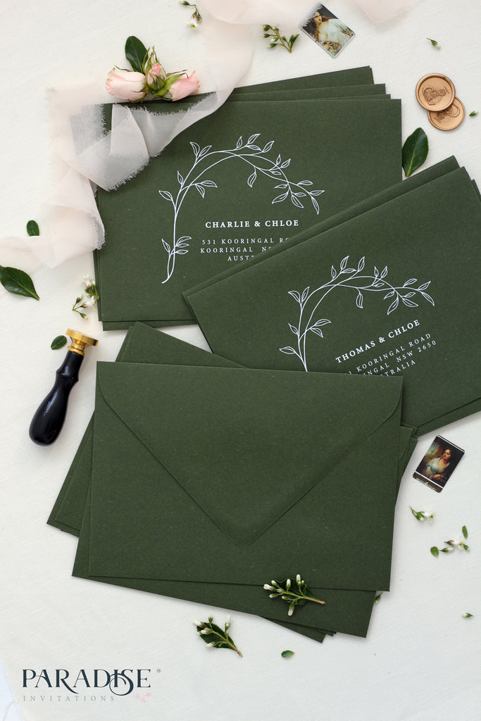 Forest Green Envelopes Floral White Ink Printing, 130x190mm