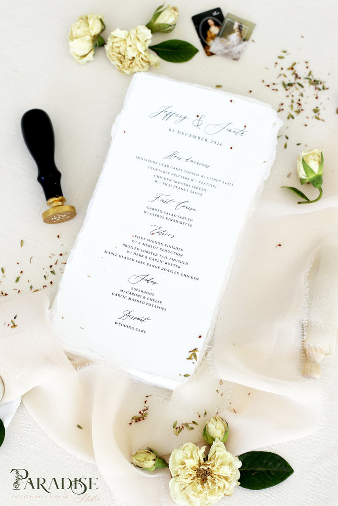 Addilyn Handmade Paper Wedding Menus