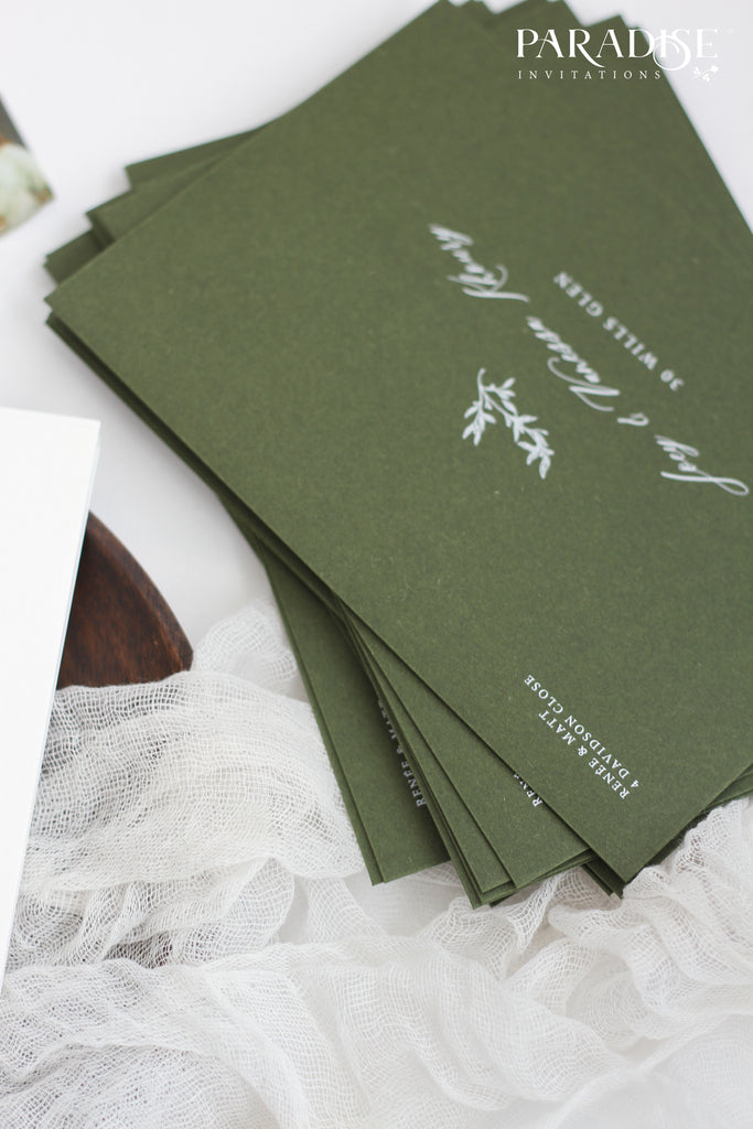 Forest Green White Ink Address printing
