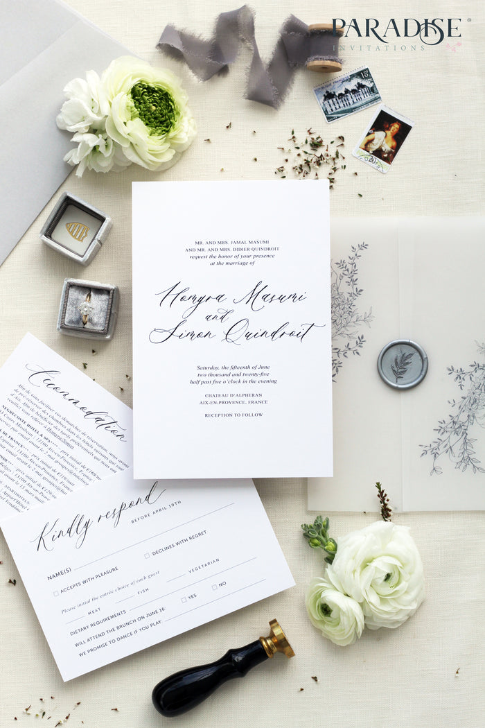 Celesse Elegant Calligraphy Wedding Invitation