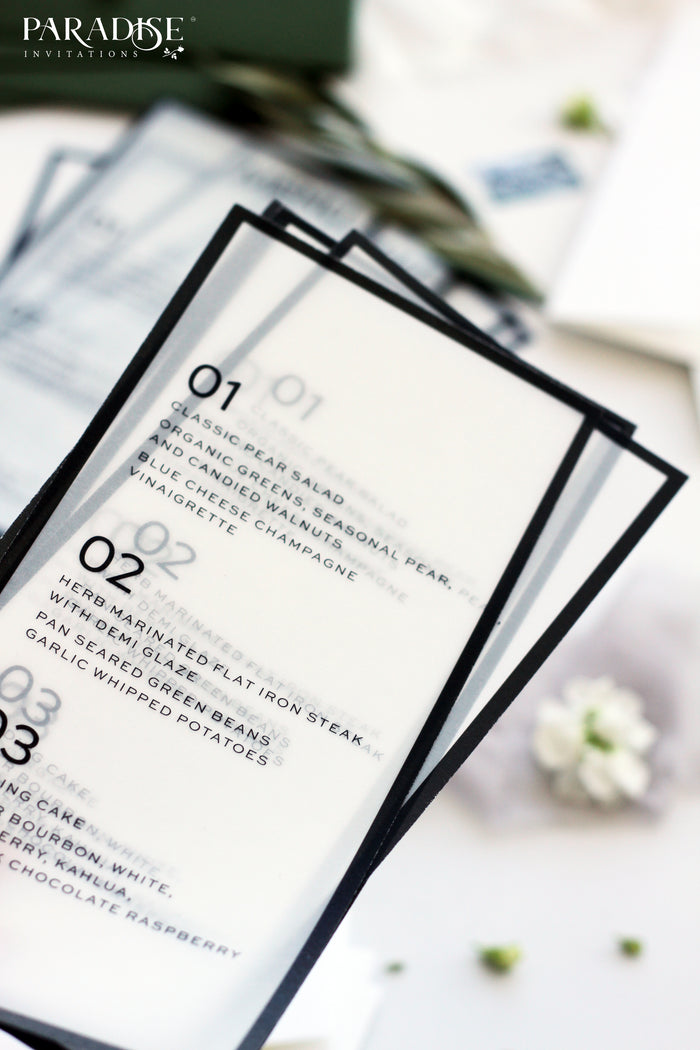 Julie Sophie Vellum Wedding Menu
