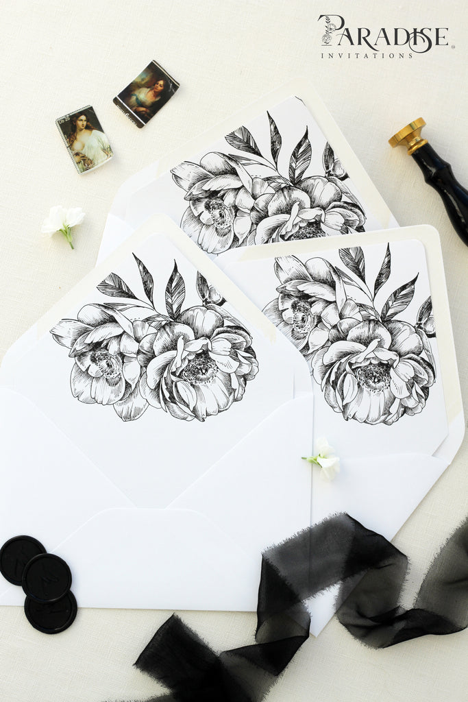 Hand Drawn Floral Envelope Liners