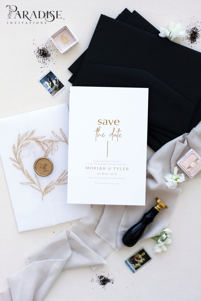 Ellinor Golden Calligraphy Save the Date