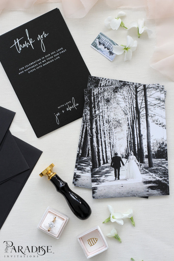 Raissa Elegant Black Thank You Card