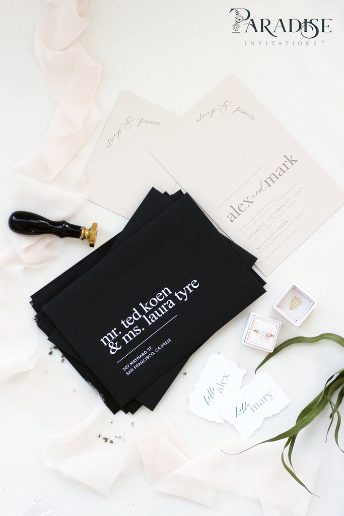 White Ink Address Printing, Black envelopes