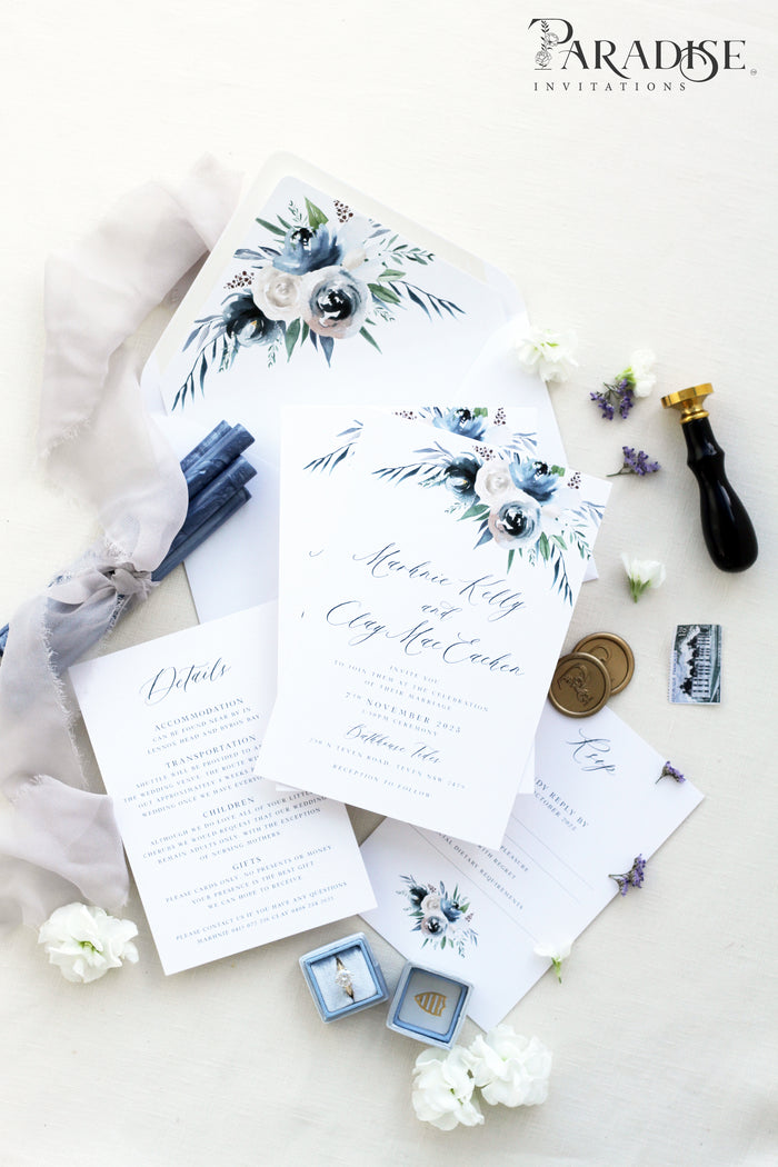 Laverna Dusty Blue Wedding Invitation Sets