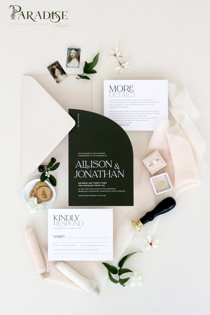 Apollonia Forest Green Wedding Invitation