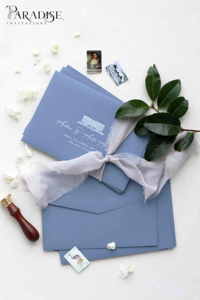 Dusty Blue Envelopes White ink printing
