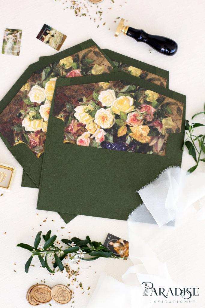 Forest Green envelopes floral liners