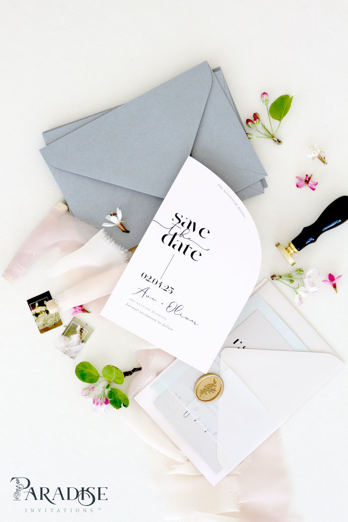 Ariadne Half Arch Save the Date Cards
