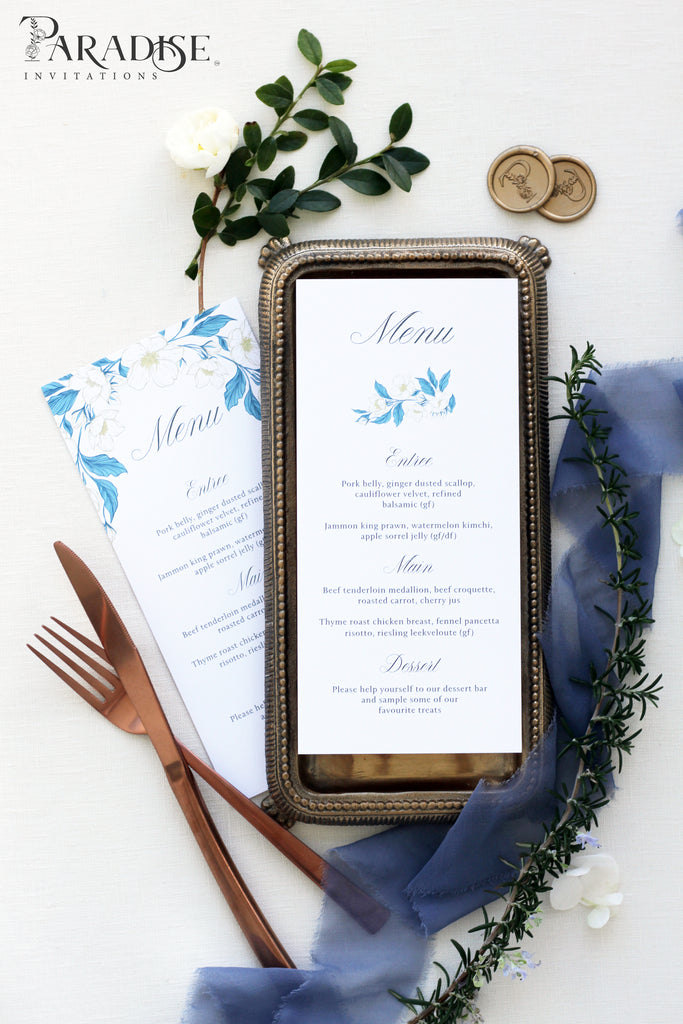 Marisha Dusty Blue Wedding Menu