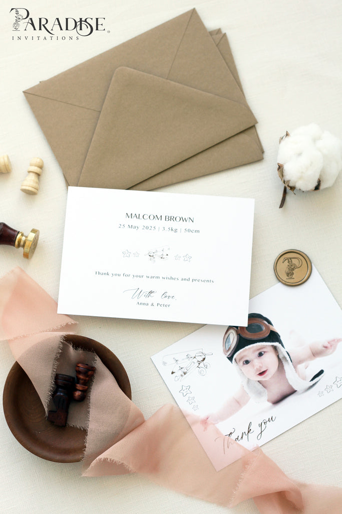 Moreen Birth announcements, Digital or Printed Baby Announcement, Thank you Baby Card
