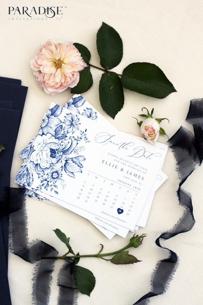 Rosselin Navy Blue Floral Save the Date